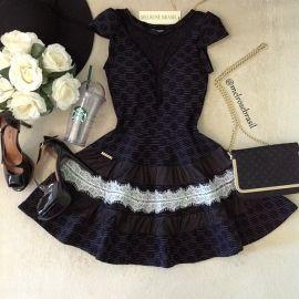 Vestido Clarinha Jacquard Premium C/ BOJO( Preto)