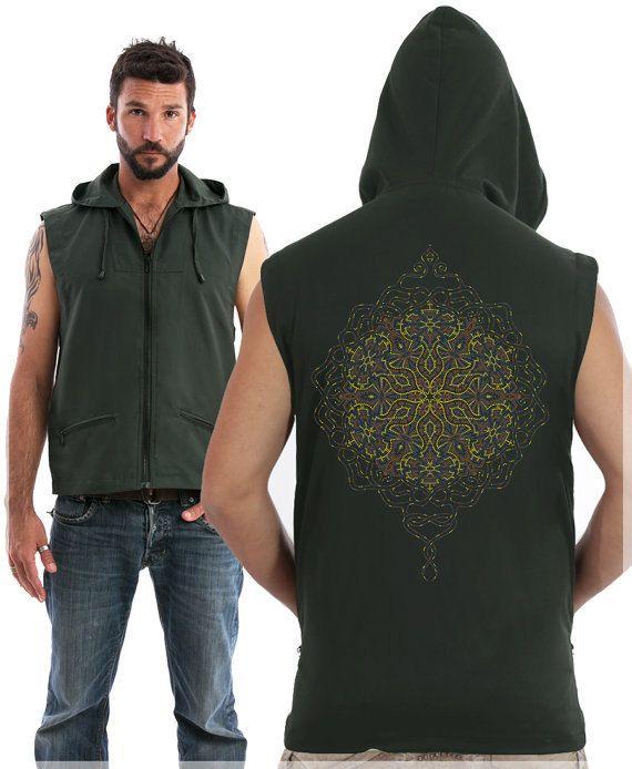 Mens Vest, Gray Hooded Vest Sleeveless Vest Jacket Music Festival Clothing, Psychedelic, Tribal, Trance, Goa, Uv Reactive
