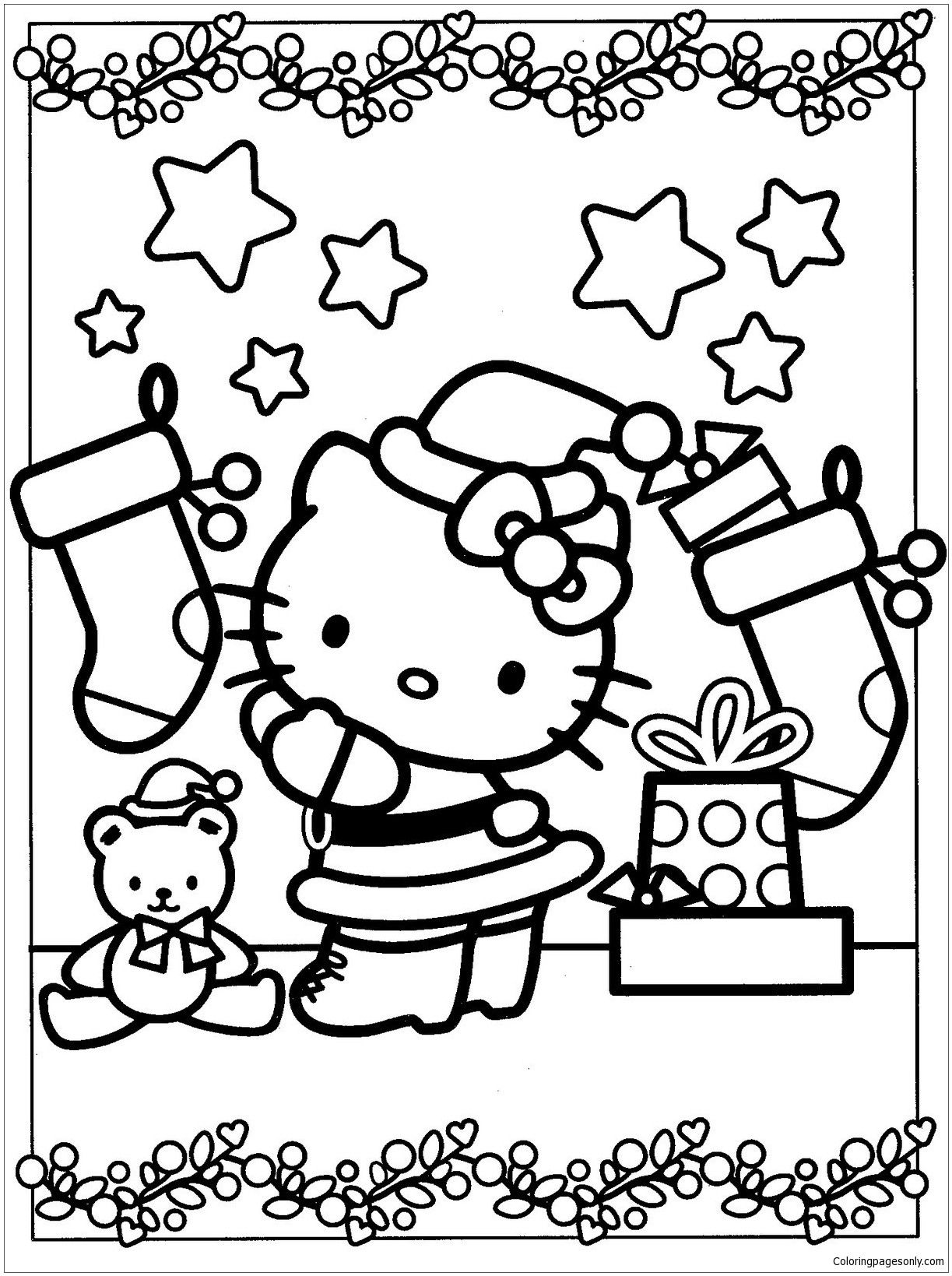 Cat Christmas Coloring Page Youngandtae Com In 2020 Kitty Coloring Hello Kitty Coloring Hello Kitty Colouring Pages