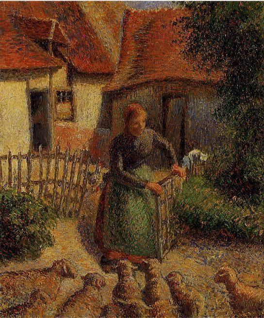 """Camille Pissarro (1830-1903) ~ """"Bergère rentrant ses Moutons"""", 1886 ~ Huile sur Toile 46.4 x 38.1cm ~ Fred Jones Jr. Museum of Art (Université de l' Oklahoma), Norman, États - Unis"""