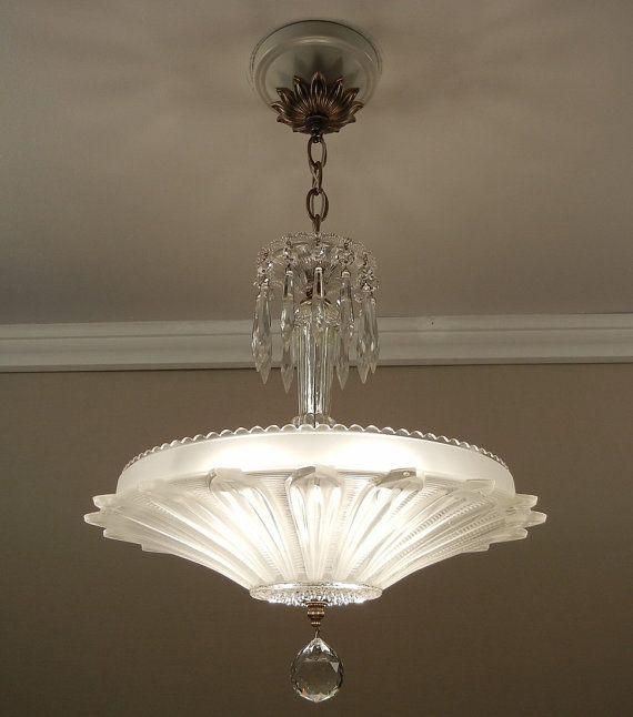 Vintage art deco antique sunflower petal pressed glass ceiling light chandelier rewired