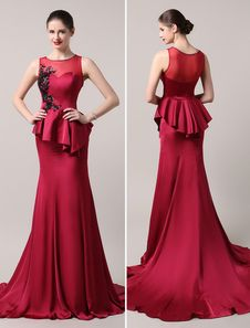 47e1da2d4c Burgundy Beading Bodice Apple Illusion Mermaid Evening Dress With Train  Milanoo