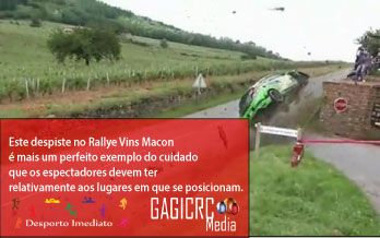 Fonte: AutoSport  Video: http://www.dailymotion.com/video/x10xx9g_rallye-vins-macon-2013-sortie-de-route-megane-crash_auto#from=embediframe