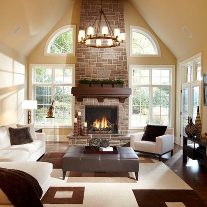 Family Room With Large Mantel Fireplace, Vaulted Ceilings