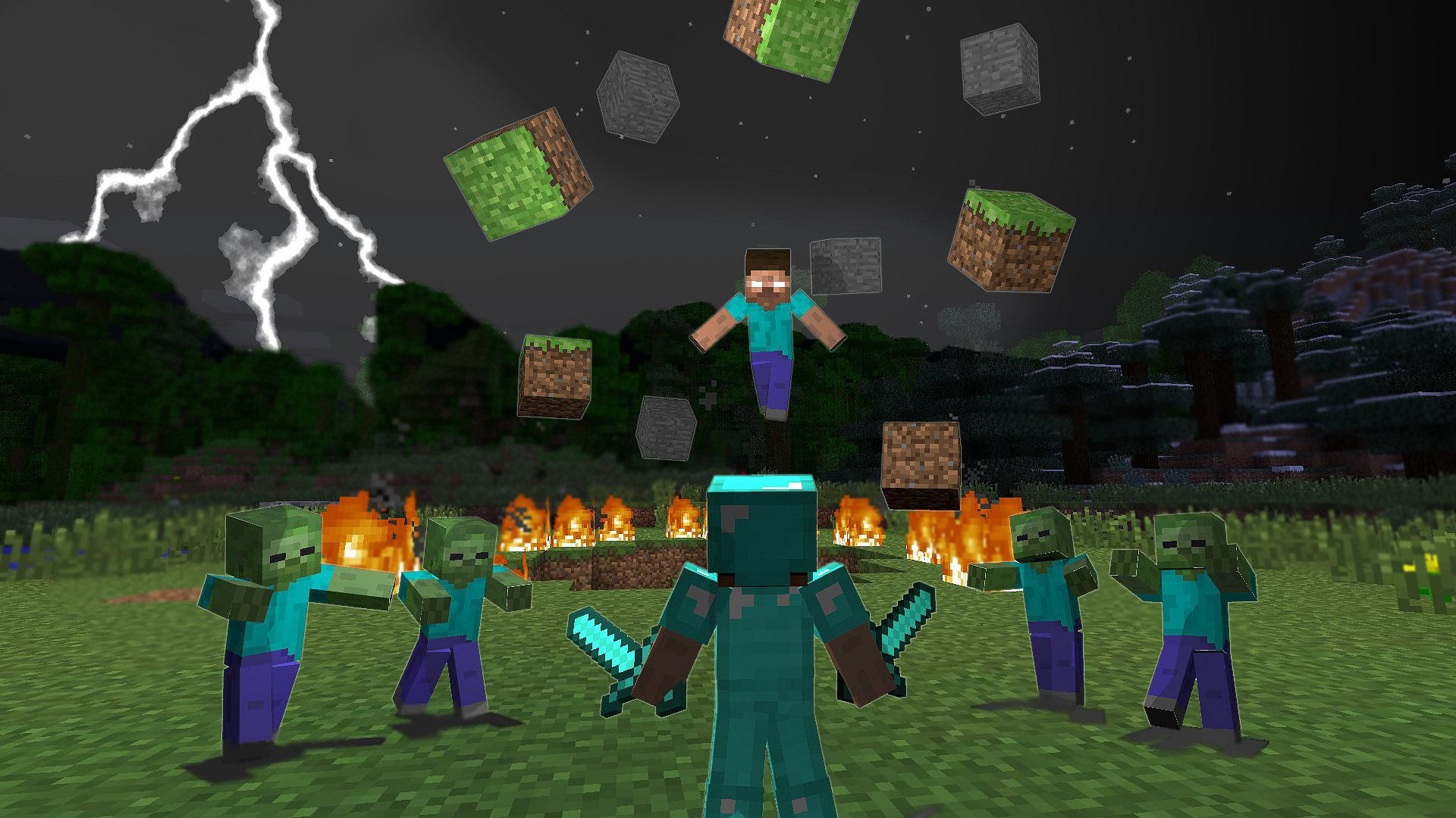 Herobrine And Player In Dimond Amour Swords