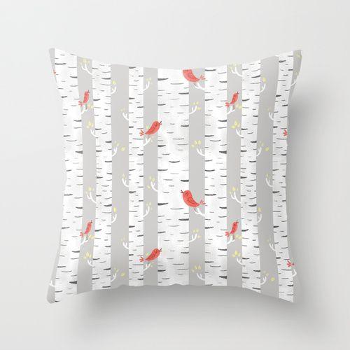 Birch Birds Throw Pillow