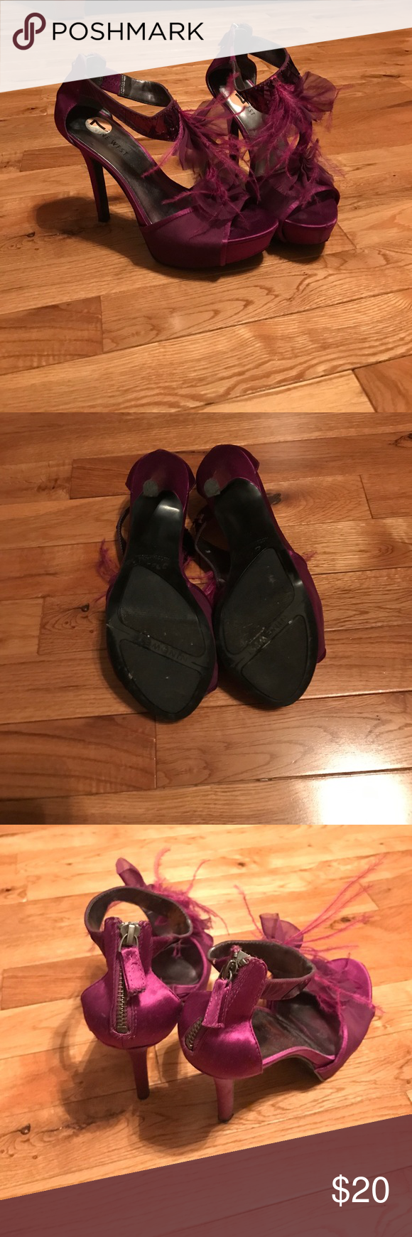 Nine West pumps Purple Nine West pumps size 7. With feather pieces. 4 1/2 inch heel with 1 inch platform. zipper up in the back. Very stylish. In good condition. Only worn two times. Nine West Shoes Heels
