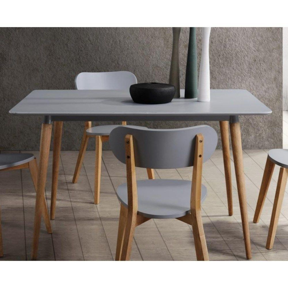 Wood Dining Table With Round Legs Gray Light Brown Grey
