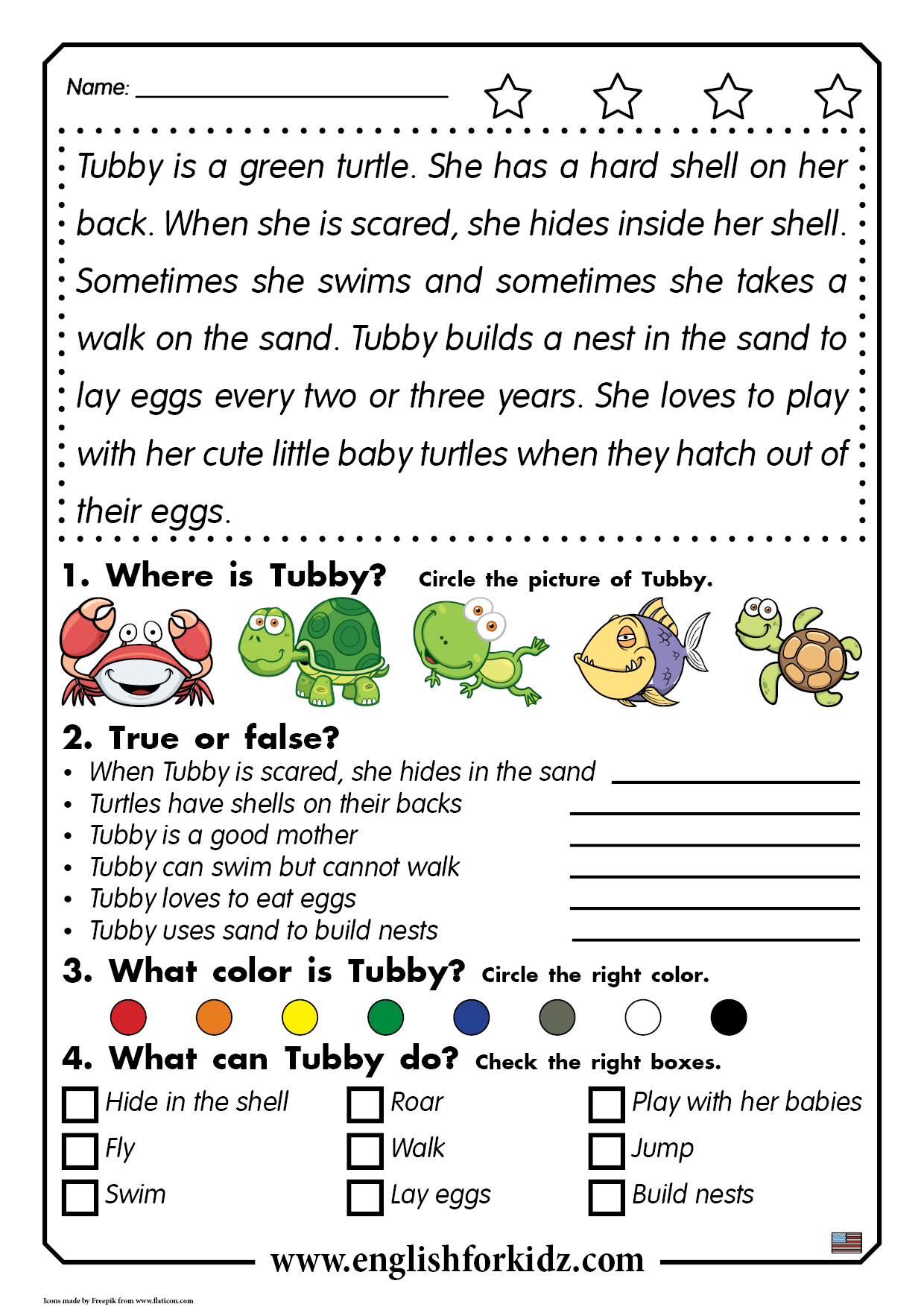 Reading Comprehension Passage For Children Learning