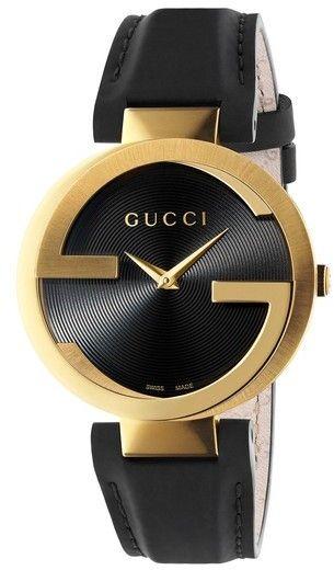 d08df1fb99f Gucci Interlocking Leather Strap Watch