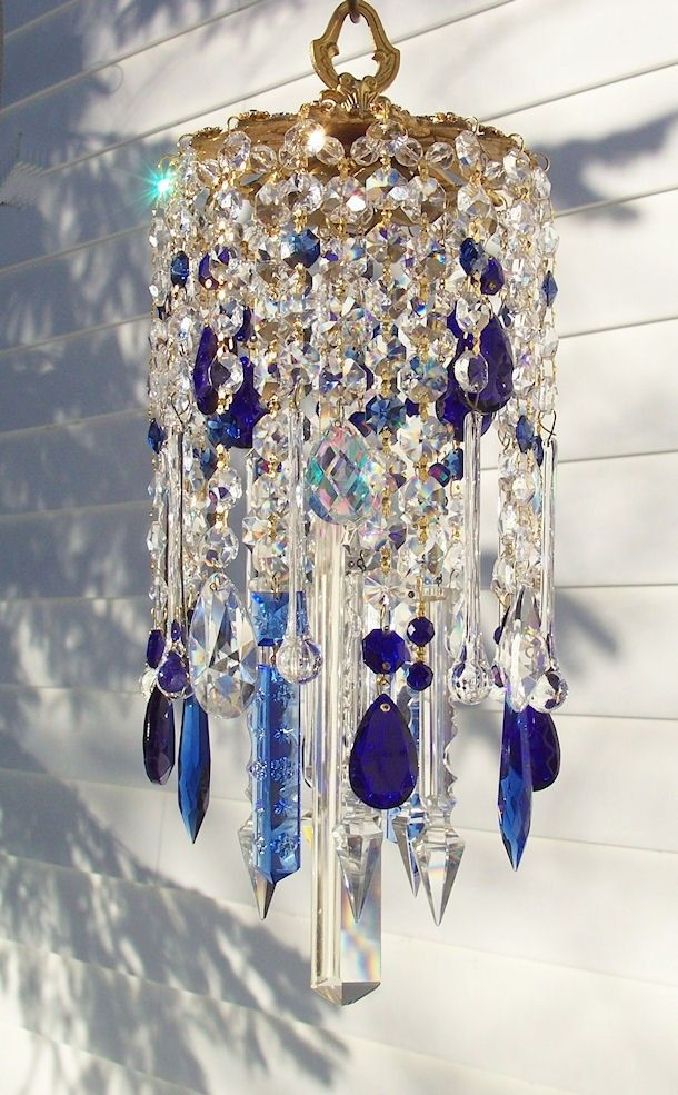 Deepest Blues Vintage Crystal Wind Chime Deep Blue Crystals And - Chandelier crystals blue