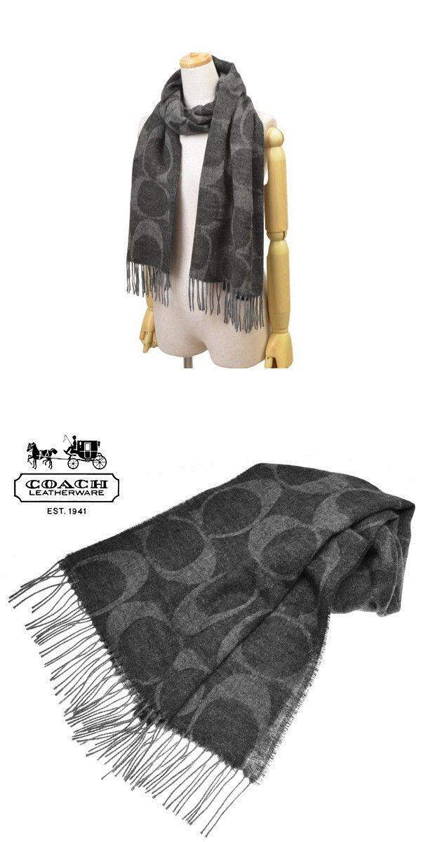 Scarves 52382 Nwt Coach Signature C Ler Wool Cashmere Black Grey Scarf F77673 Msrp