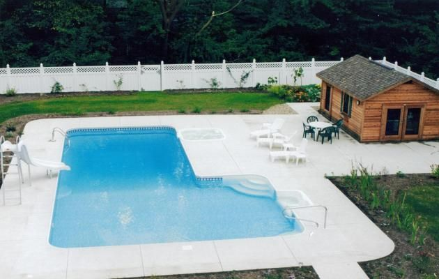 Awesome l shaped pool with small house pool woohoo for Pool design hours