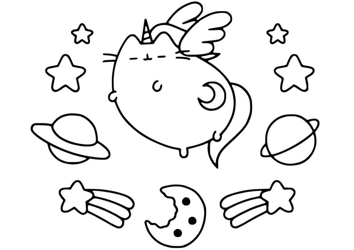 Space Cat | Unicorn coloring pages, Cat coloring page ...