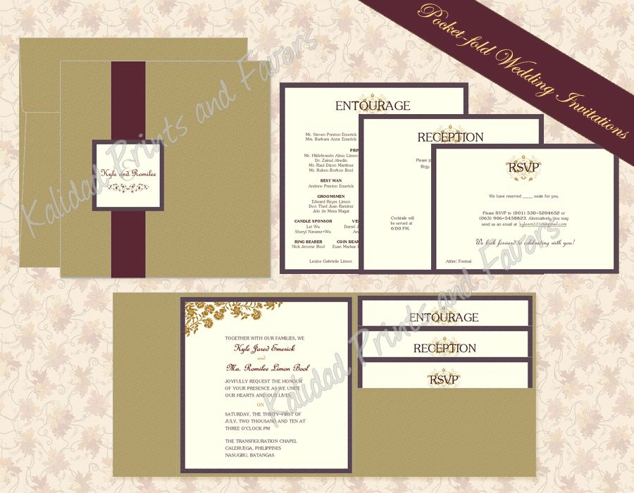 Pocket-fold Wedding Invitation, love the style, but will change the ...