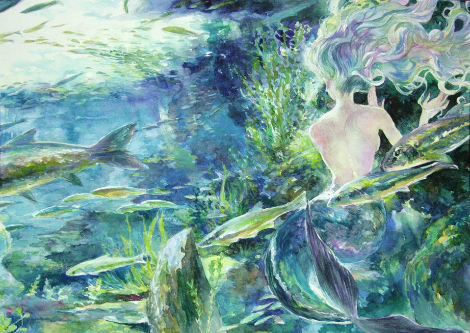青の世界 by おやびん(紫紅庵) Source: http://www.pixiv.net/member_illust.php?mode=medium&illust_id=9141088