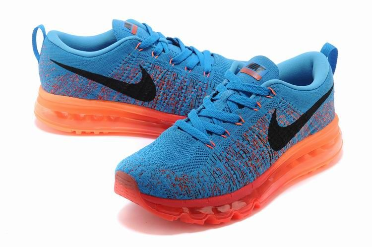 best website 43dd3 d25cb ... wholesale nike flyknit air max homme chaussures ciel bleu orange rouge  2d0ac 821ef