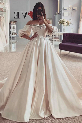 Puffy Sleeves Vintage Ball Gown Off The Shouder Sweetheart Wedding Dresses In 2020 Vintage Ball Gowns Short Sleeve Wedding Dress Ball Gowns