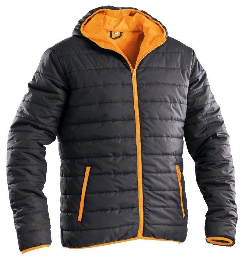 Piumino Giacca Giubbotto impermeabile Nero arancio Cappuccio interno 200  grammi fd87beafcb64
