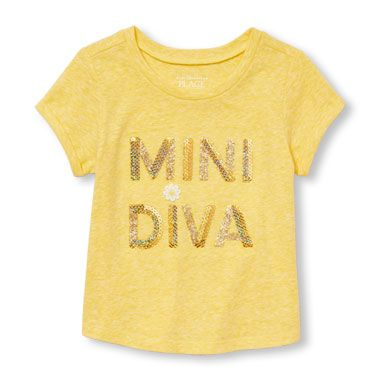 974400f772ba6 Toddler Girls Short Sleeve Embellished 'Mini Diva' Graphic Cuffed Tee