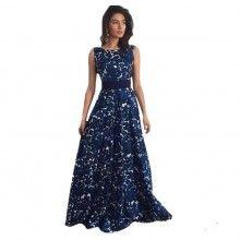Damskia długa sukienka z motywem nocnego