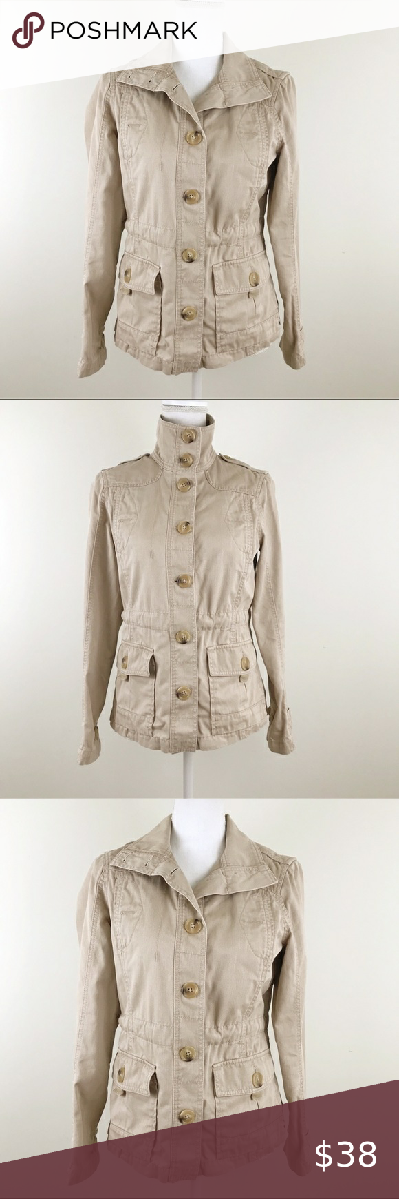 Eddie Bauer Utility Jacket Coat Khaki Light Tan S