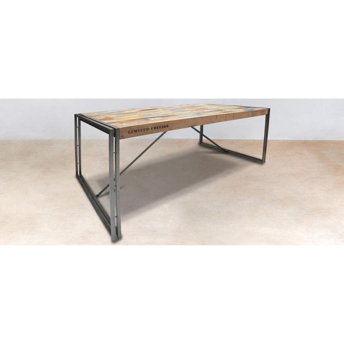 Meuble Tv Table Basse Assorti table À manger industrielle bois recyclé 250x110cm caravelle