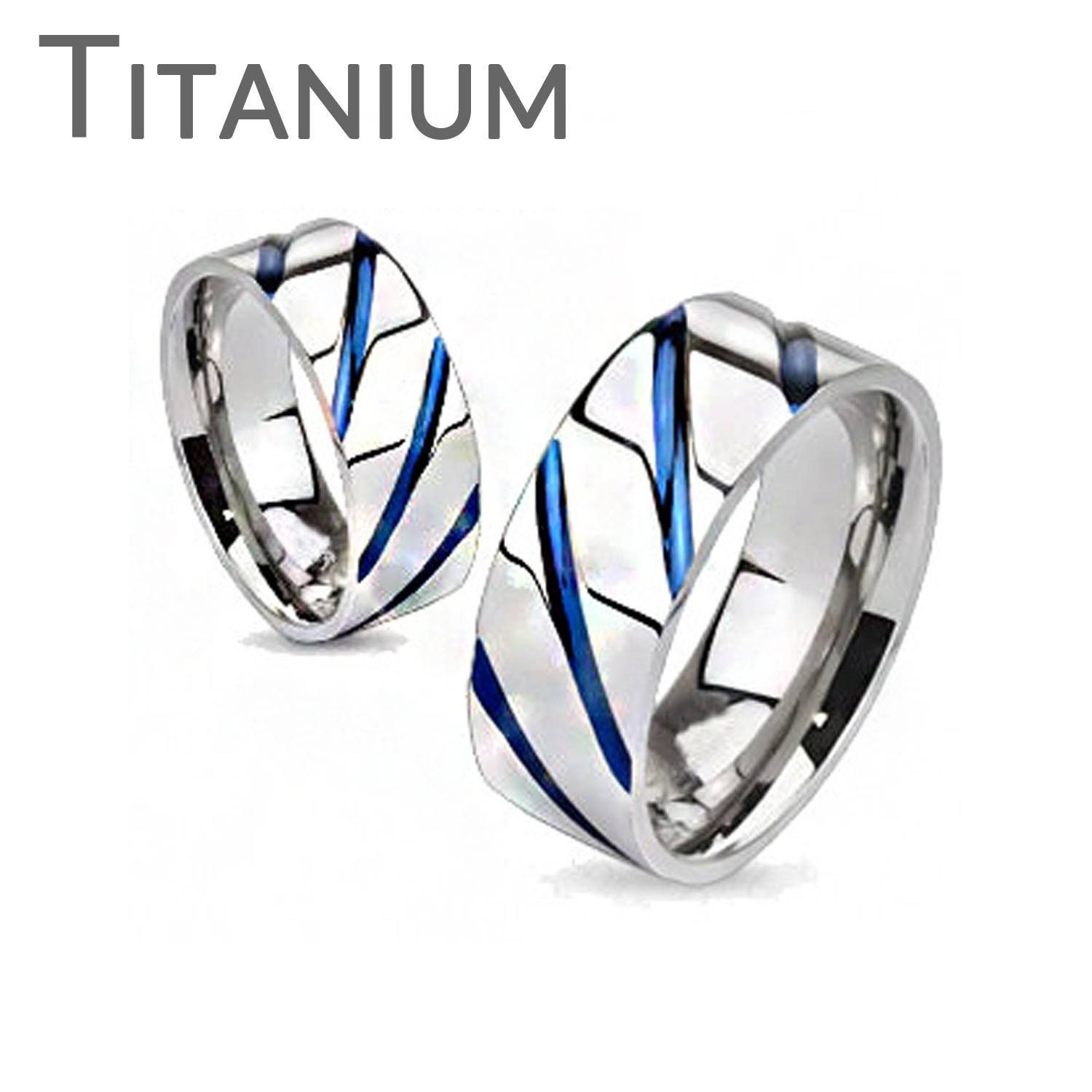 Women/'s Solid Titanium Ring With Triple Abalone Inlayed Design Band Width 7mm