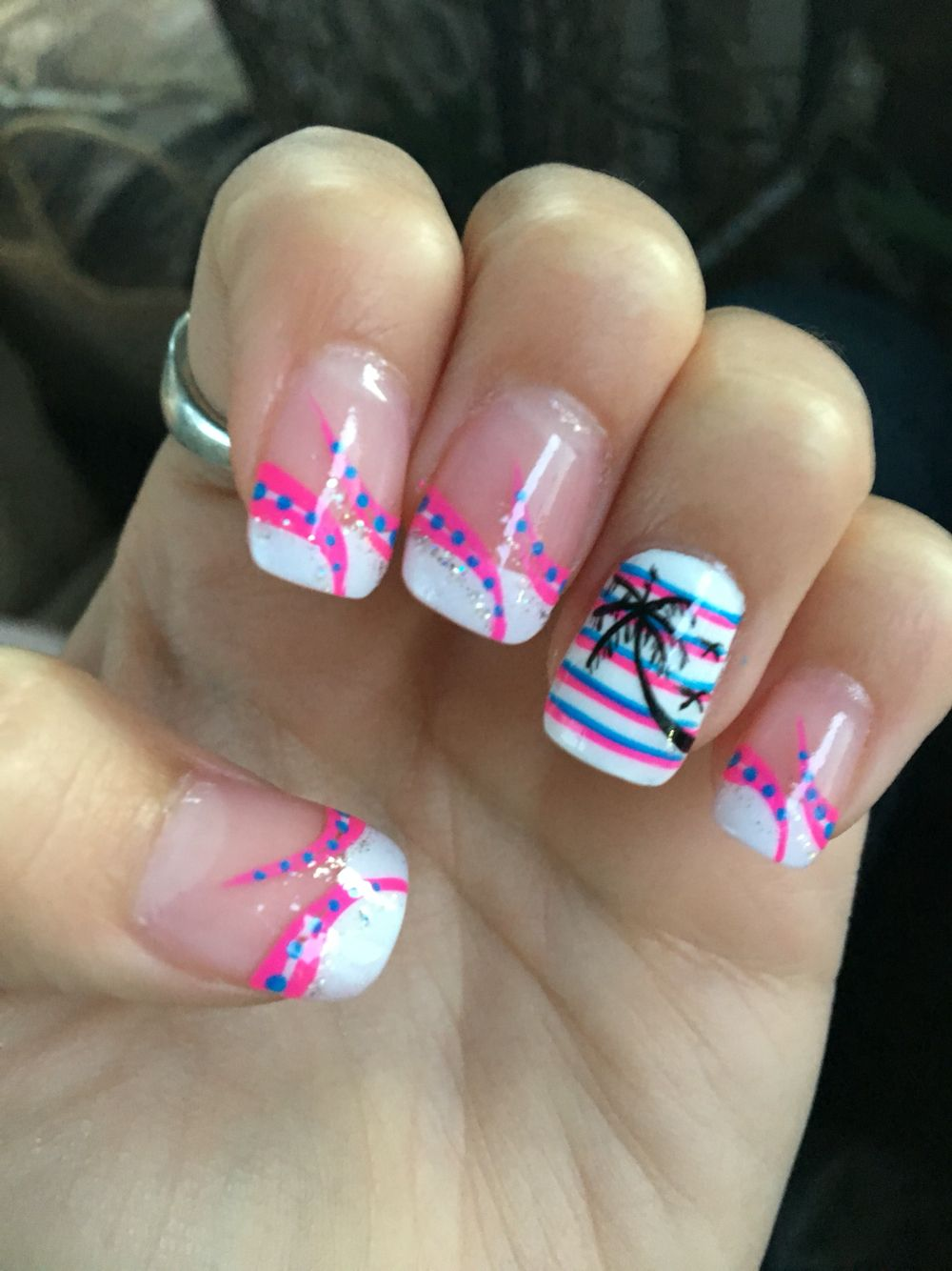 Colored french nail design - Summer Nail Designs Pink And Blue Strips Palm Tree French Manicure