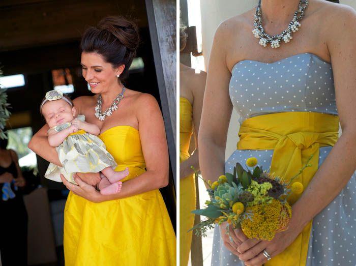 yellow and grey bridesmaid dress - Google Search