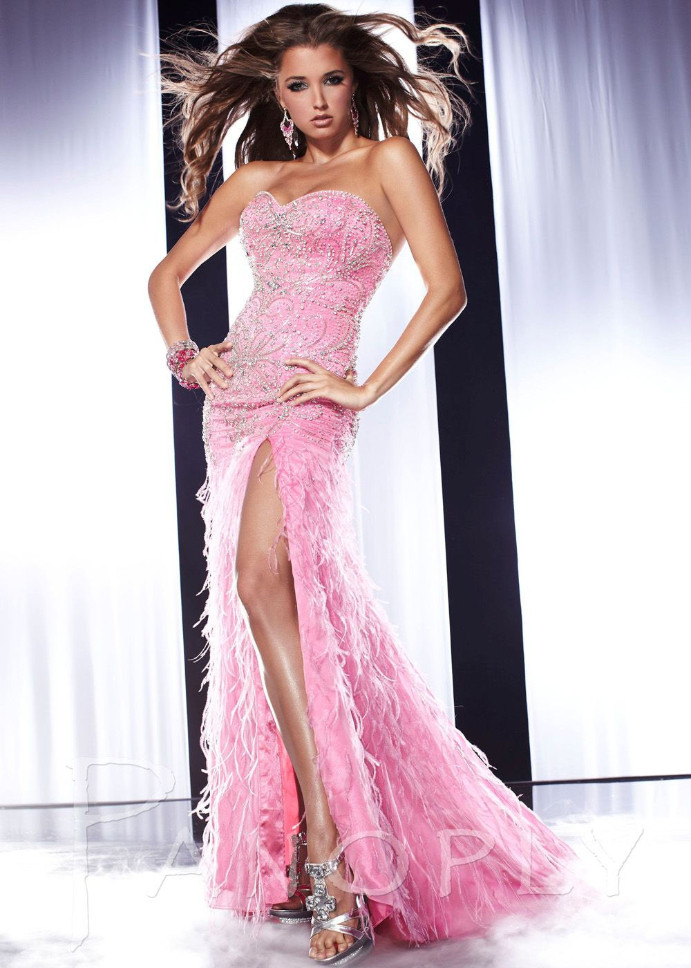 Panoply 14540 - Pink and Silver Strapless Prom Dresses Online ...