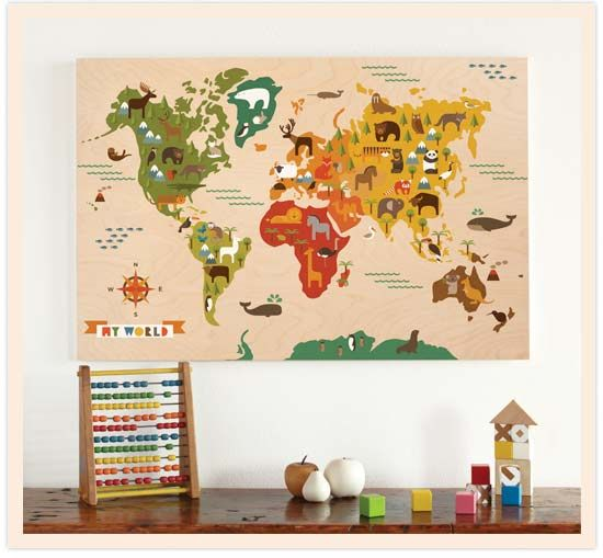 petit collage my world fabric wall decal