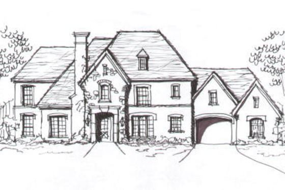 Porte cochere with guest quarters semi detached from the