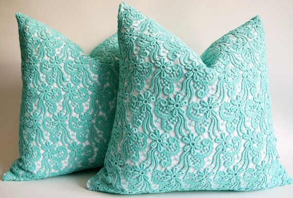 Sukan 1 piece blue green lace pillow covers pillow cover decorative pillows throw pillow covers 18x18 inch