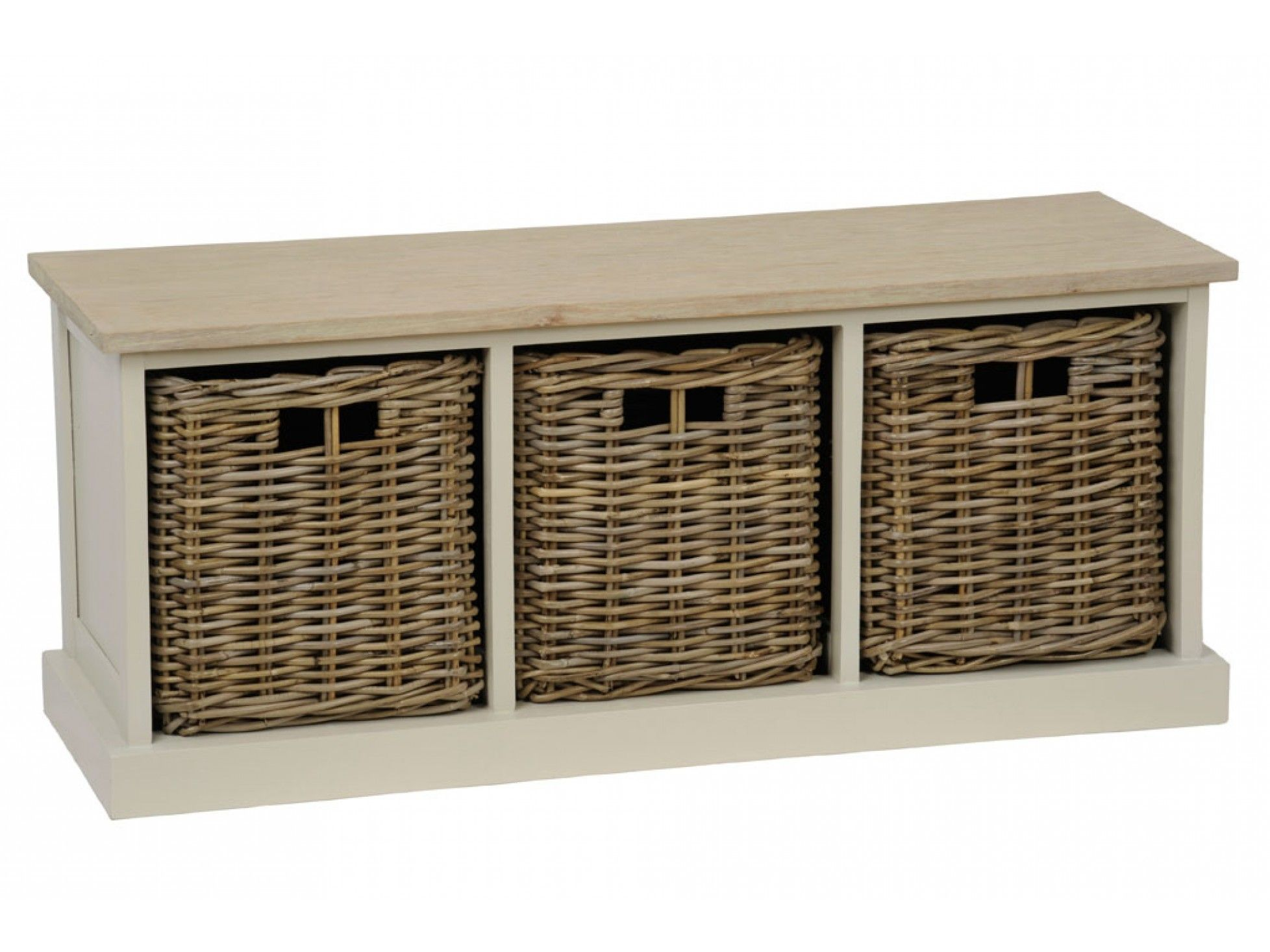 Wooden Southwold Bench Storage Basket Unit