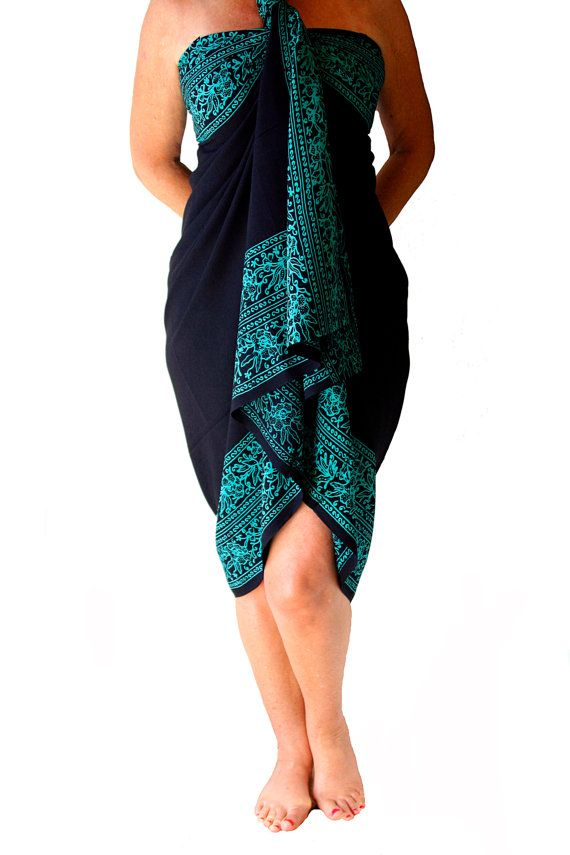b1ea285524de8 PLUS SIZE Sarong Black and Teal Beach Sarong Batik Pareo - Extra Long Wrap  Skirt or Dress - Women s Plus Size Clothing Sarong Wrap Cover Up