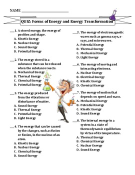 TEST: Forms of Energy & Energy Transformations | TpT Science Lessons ...