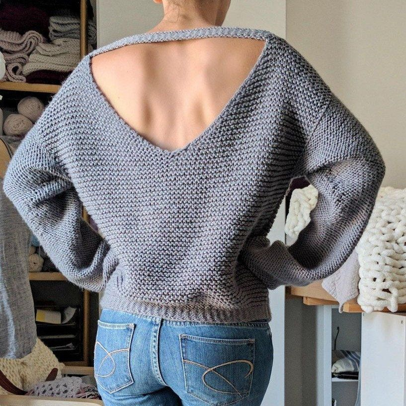 No Purls Sweater Pattern, V Back Knit Slouchy Swea