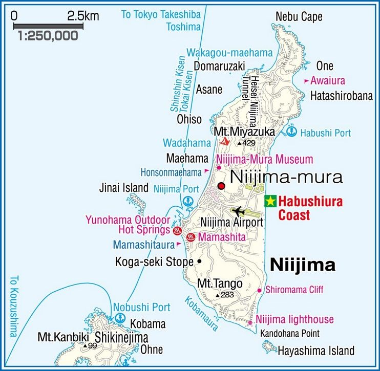 Niijima Island map Maps Pinterest Japan and City