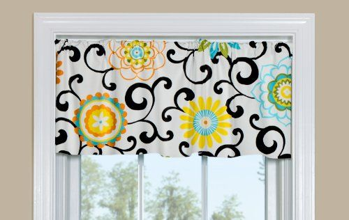 Contempo Curtains Pom Pom Play Confetti Floral Colorful Kitchen Valance 50 Inch By 14 Inch Window Valance Valance Curtains