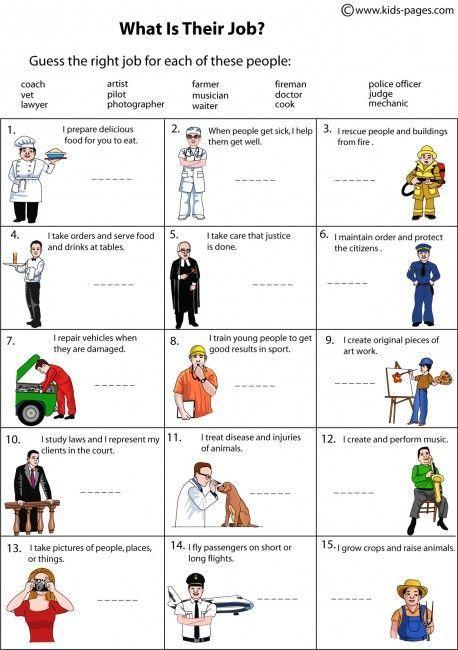 Kids Pages Job Description Teaching Job Worksheet Occupation Worksheet Teaching english jobs worksheets