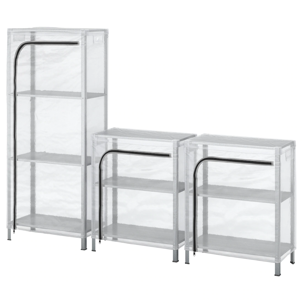 Hyllis Shelving Units With Covers Clear 70 7 8x10 5 8x29 1 8 55 1 8 Ikea In 2020 Shelving Unit Outdoor Storage Bench Ikea