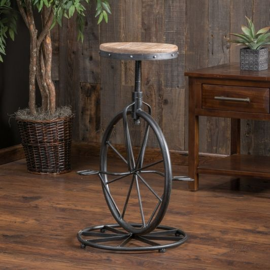 For A Whimsical Touch To Any Room, Add The Charles Adjustable Height Bar  Stool. Complete With Bicycle Pedals, Wheel, And Weathered Fir Wood Seat, ...