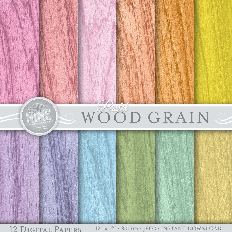 Scrapbook paper download - Pastel Wood Grain 12 X 12 Digital Paper Pattern Prints Instant Download Backgrounds Scrapbook