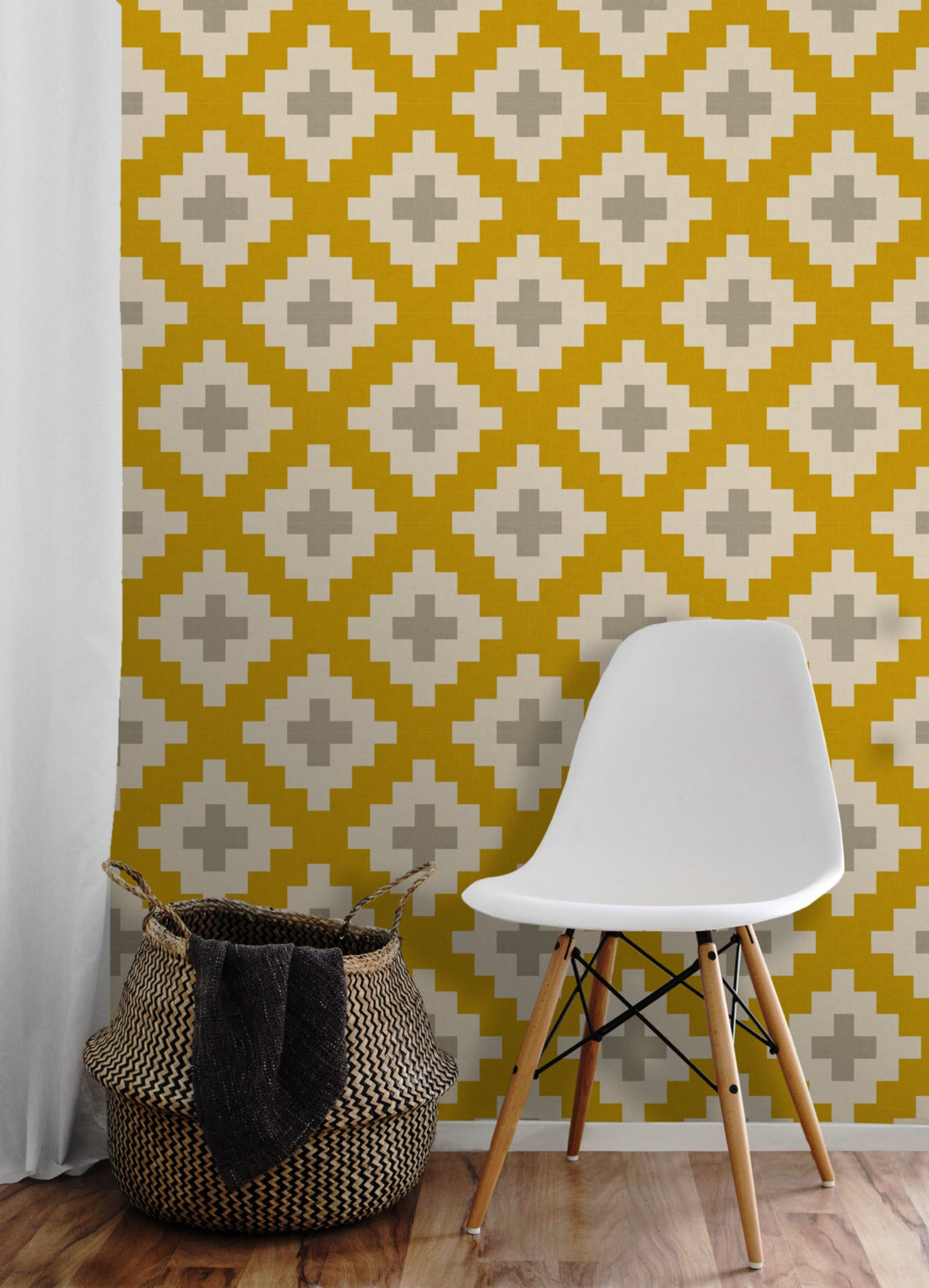 Southwest Gold And Gray Easy To Apply Removable Peel Etsy Peel N Stick Wallpaper Southwest White Quilt