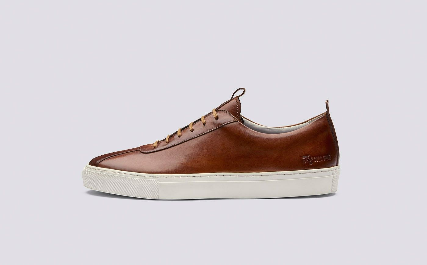 Tan Hand-Painted Calf Leather Hi Top Sneakers Grenson nEDvUc4