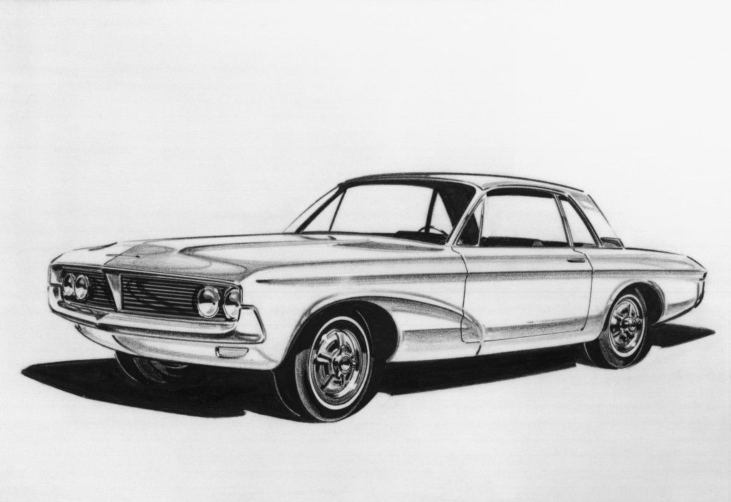1965 Ford Mustang Sketch Hand drawn cars Pinterest