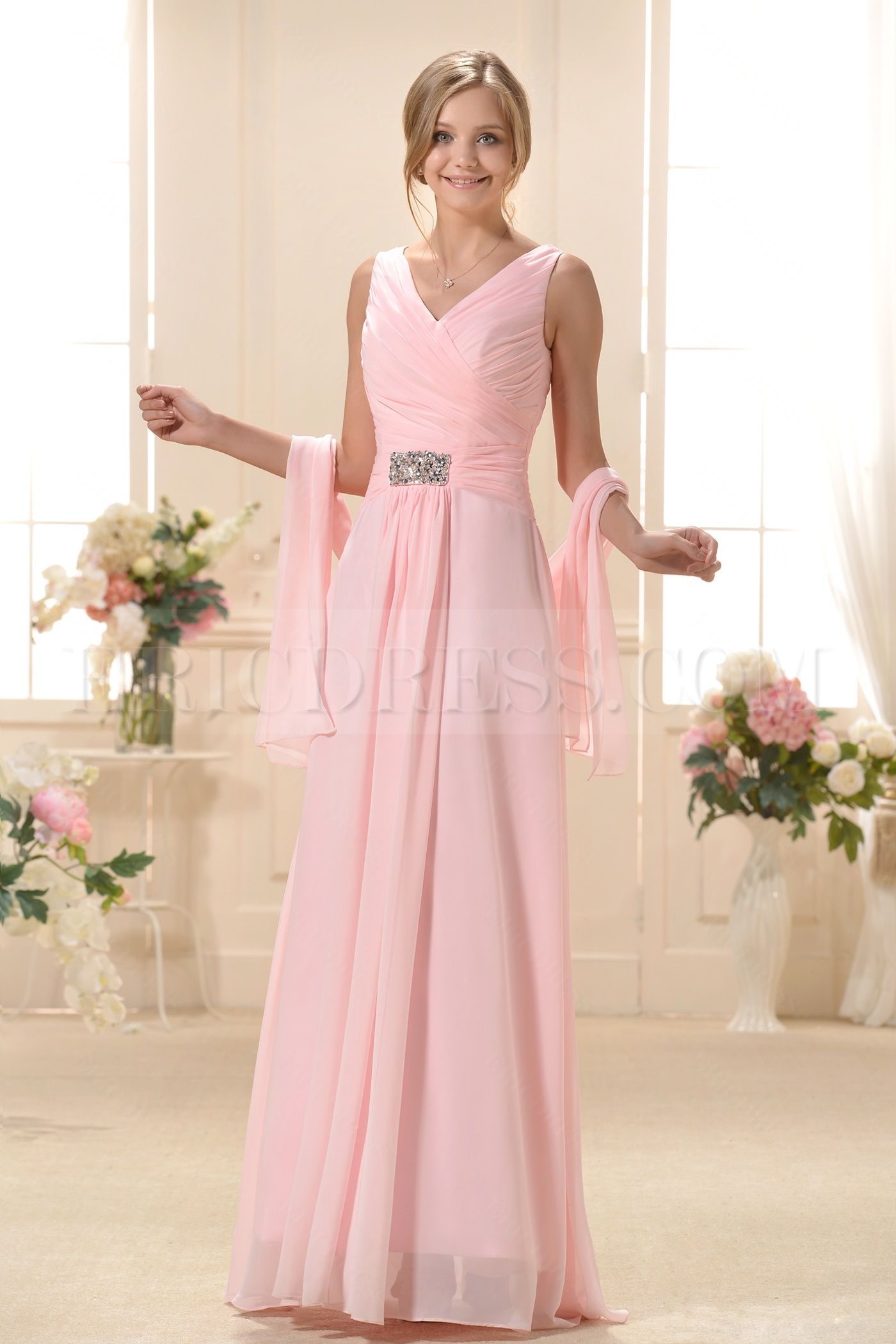 Fashionable Pleats A-Line V-Neck Long Bridesmaid Dress