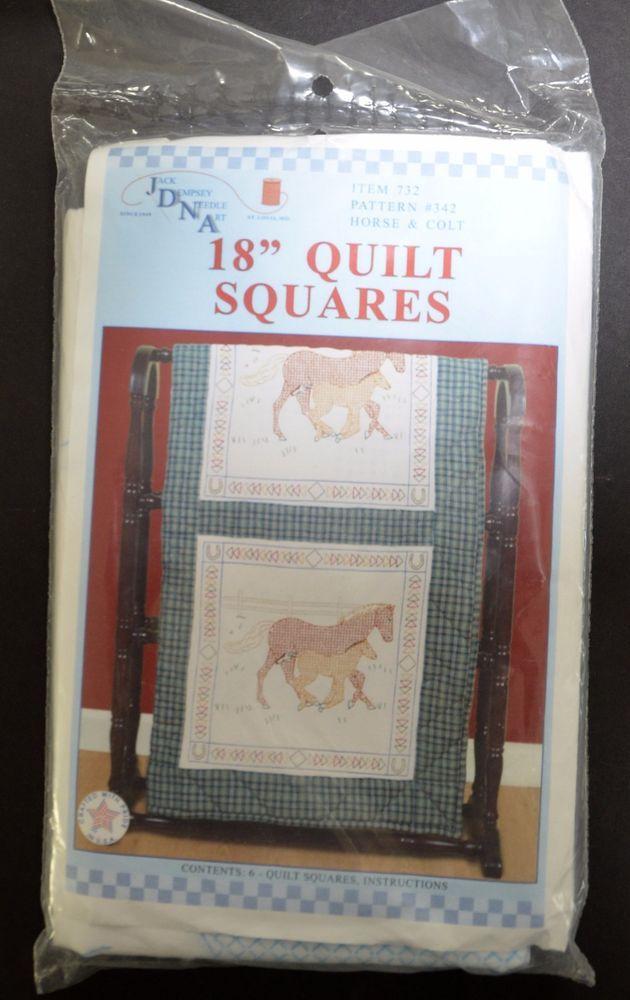 """Horse Colt Stamped Quilt Blocks Jack Dempsey Needle Art 18"""" x 18"""" JDNA NIP USA  #JackDempseyNeedleArt"""