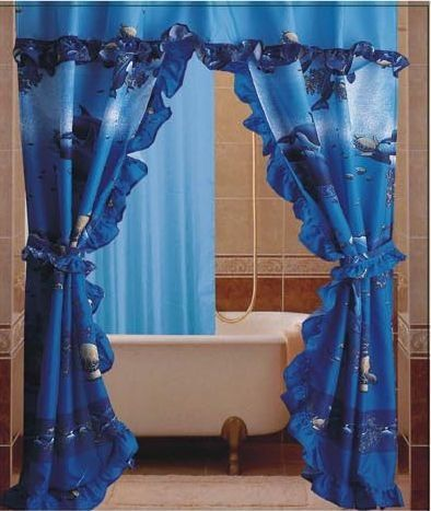Dolphin Ocean Sea Life Double Swag With Valance Tie Backs Liner Matching  Rings Bathroom Shower Curtain